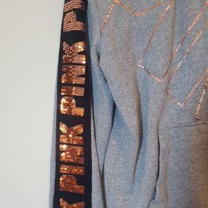 PINK Victoria's Secret Tops - VS PINK M Grey Sequin Full Zip Sweater